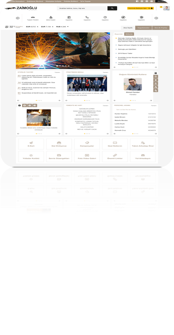 Zaimoğlu Holding SharePoint 2016 Kurumsal Portal Projesi